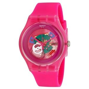 """Swatch """"Pink Laquered"""" Silicone Strap Watch"""